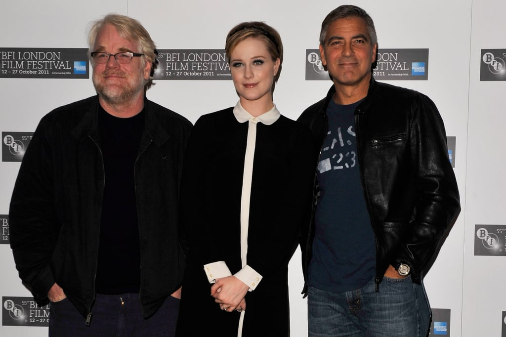 George Clooney, Philip Seymour Hoffman, and Evan Rachel Wood stood together for a photo op.