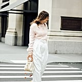 Easy Outfits: A Pastel Sweater, White Pants, Sandals, and a Bag