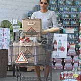 Halle Berry gets groceries.