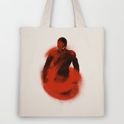 Spiderman has just Entered Sandman territory, here on a tote ($18).