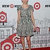 A cool geometric black and white print for Elizabeth Banks; chunky tan sandals preserve the tribal vibe.