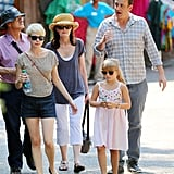 Roger Bell, Michelle Williams, Heath's mum Sally Bell, Matilda Ledger and Jason Segel spent the day together.