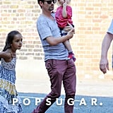Matthew Bellamy took Bingham Bellamy to visit Kate Hudson on her London set.