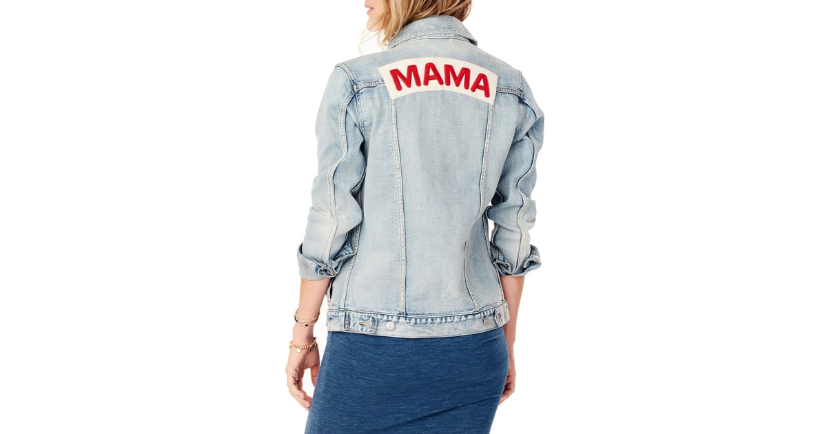 64a238dd00665 Ingrid & Isabel Mama Denim Maternity Jacket | Mom-Themed Clothes | POPSUGAR  Family Photo 4