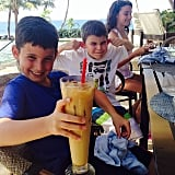 Julian, Shepherd, and Sascha Seinfeld enjoyed poolside drinks during their vacation in Puerto Rico. Source: Instagram user jessseinfeld