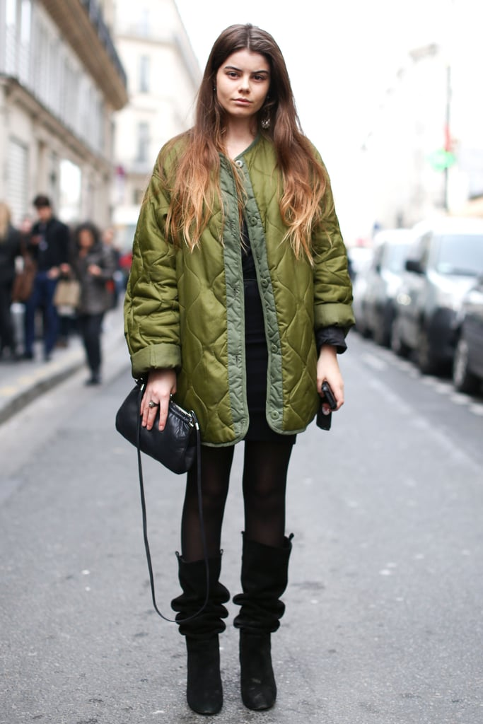 A quilted puffer gave this showgoer sporty appeal.