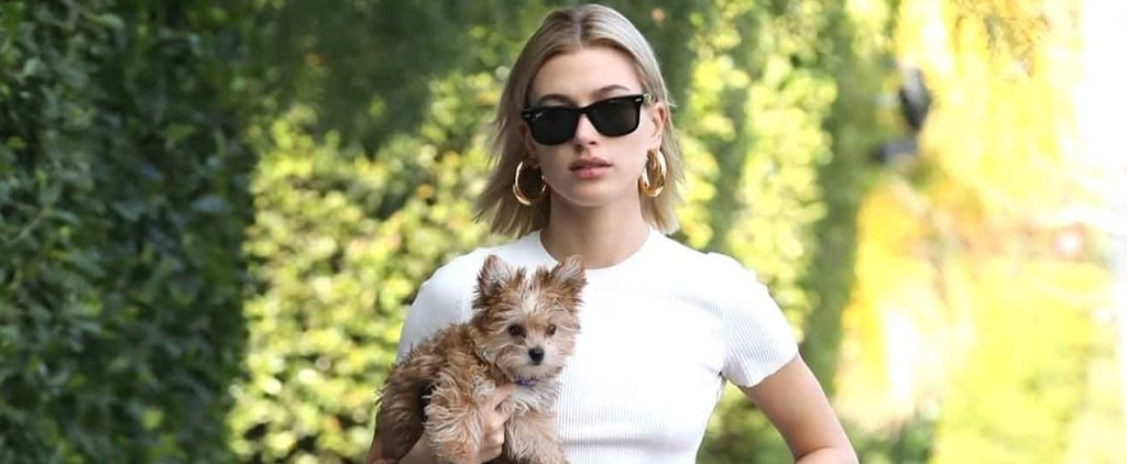 Hailey Baldwin Pink Sweatpants With Dog