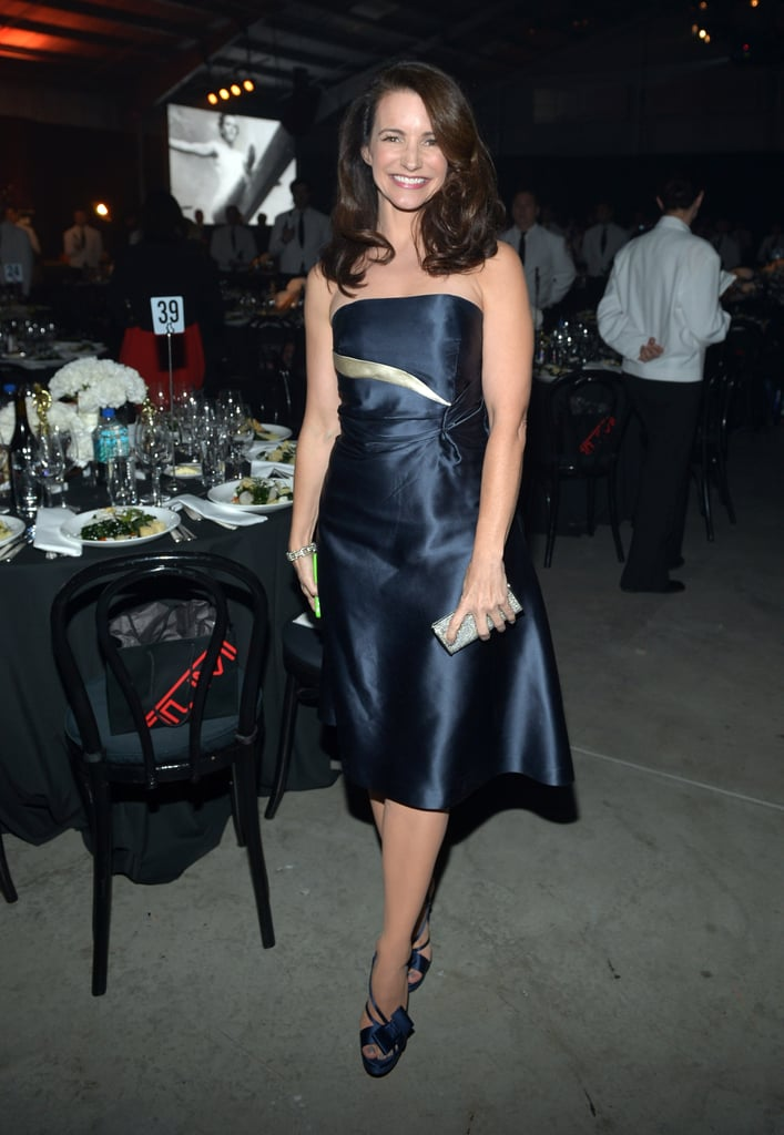 Kristin Davis wore a strapless dress to attend the amfAR Gala.
