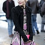 Flawlessly styled, this young woman's pixie looked even sweeter coupled up with glossy pink lipstick.