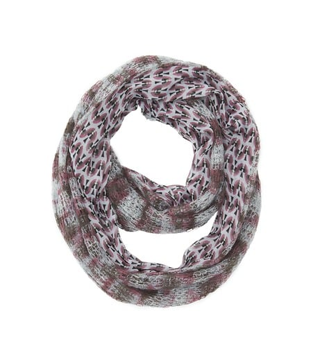 This pretty LOFT chiffon and knit infinity scarf loop ($40) would look perfect with a cozy gray cardigan.