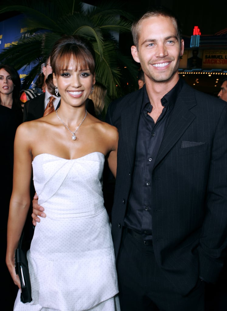 Paul and Jessica Alba smiled for photos together at the LA premiere of their film Into the Blue in September 2005.