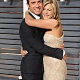Jennifer gave Justin a big hug at the 2015 Vanity Fair Oscars party.