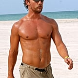 The actor was scruffy while working out on the beach in August 2006.