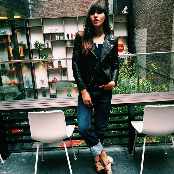 Try cuffing your jeans and pairing them with strappy flats to give your ankles a little breathing room. Source: Instagram user natalieoffduty
