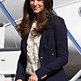 Kate Middleton wearing a blue blazer in Canada.