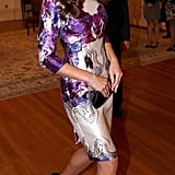 Prabal Gurung in motion — a great shot of Kate looking absolutely stunning in the designer's purple floral-printed sheath.