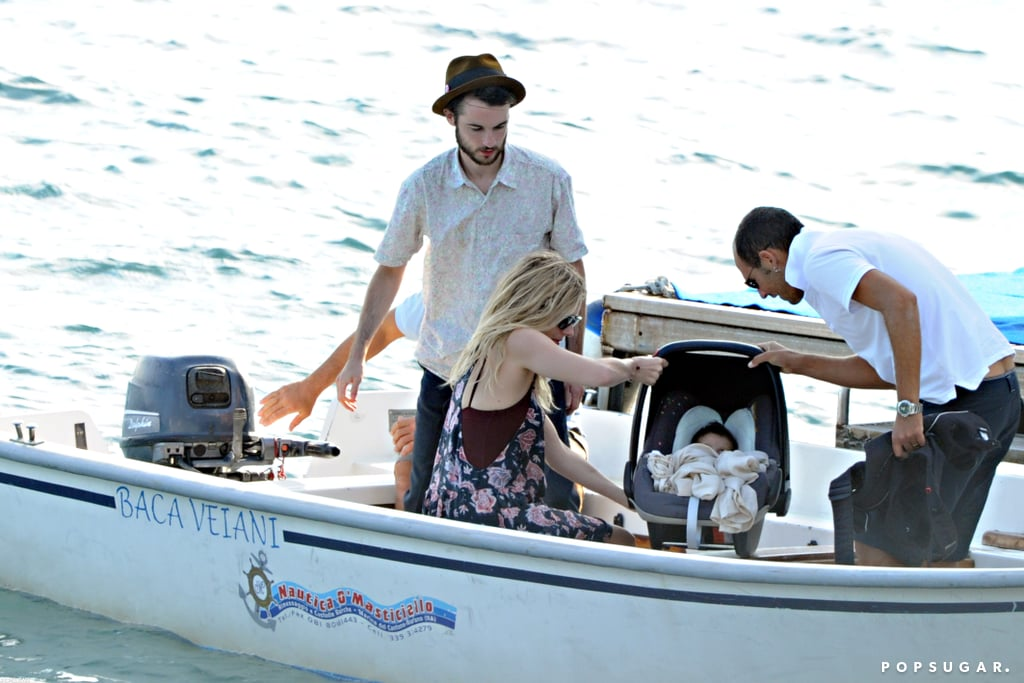 Marlowe Sturridge made the trek to Positano with parents Sienna Miller and Tom Sturridge.
