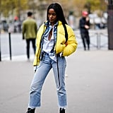 Layer Up in a Yellow Puffer and Combat Boots