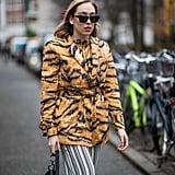 Who knew that tiger print looked so great with graphic stripes?