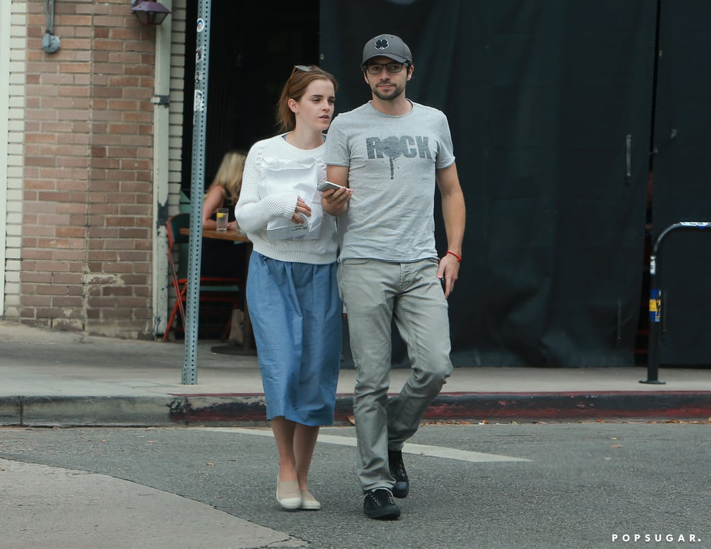 Emma Watson cozied up to the new guy in her life, actor Roberto Aguire, during a lunch date in Los Feliz, CA, on Sunday. It's unclear how long the duo have been dating, but Emma's been reportedly single since her December 2014 split from rugby player Matthew Janney. In February, there were those rumors of a possible romance between Emma and Prince Harry, though she quickly shut them down with one tweet.  Regardless of her relationship status, it's been a big year for Emma, who turned 25 in April. She continued speaking out about gender equality with the HeForShe campaign and was cast as Belle in the live-action version of Beauty and the Beast, causing a frenzy of excitement among fans. Her supporters were back to buzzing in June when she appeared in a silly Instagram snap with Taylor Swift.