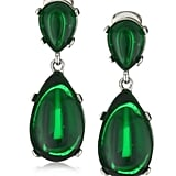 Channel the megawatt glamour of Cannes jewels with these brilliant emerald-hued costume jewels.  Kenneth Jay Lane Emerald Colored Rhodium Teardrop Clip-On Earrings ($100)