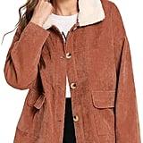 ROMWE Faux Fur Corduroy Jacket