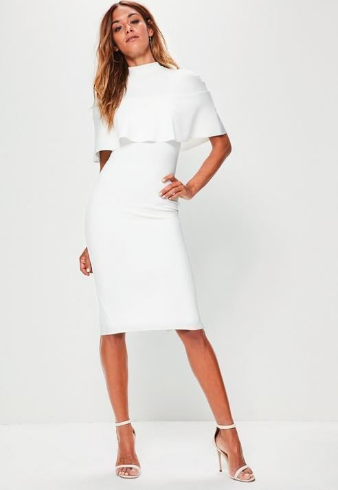 Missguided White Frill Overlay Shoulder Midi Dress