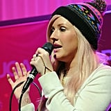 Ellie Goulding wore a colorful beanie.