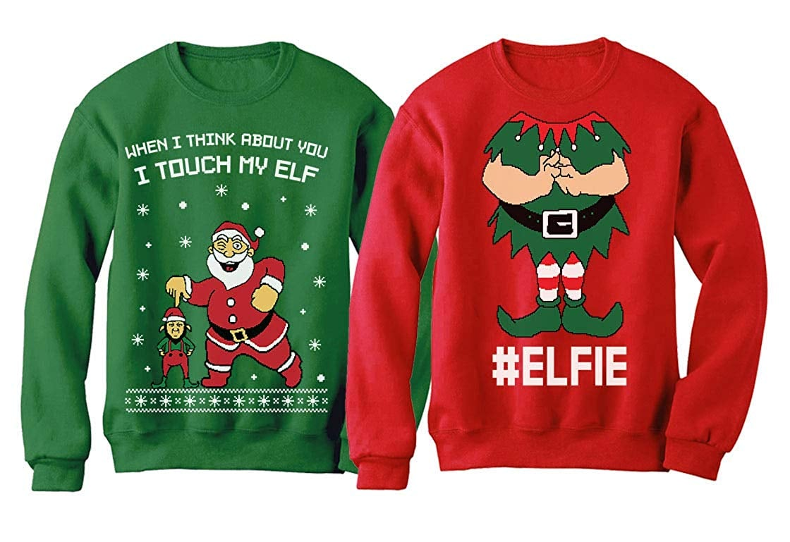Matching Jolly AF Sweatshirts for Couples Ugly Matching Christmas Couple Sweater