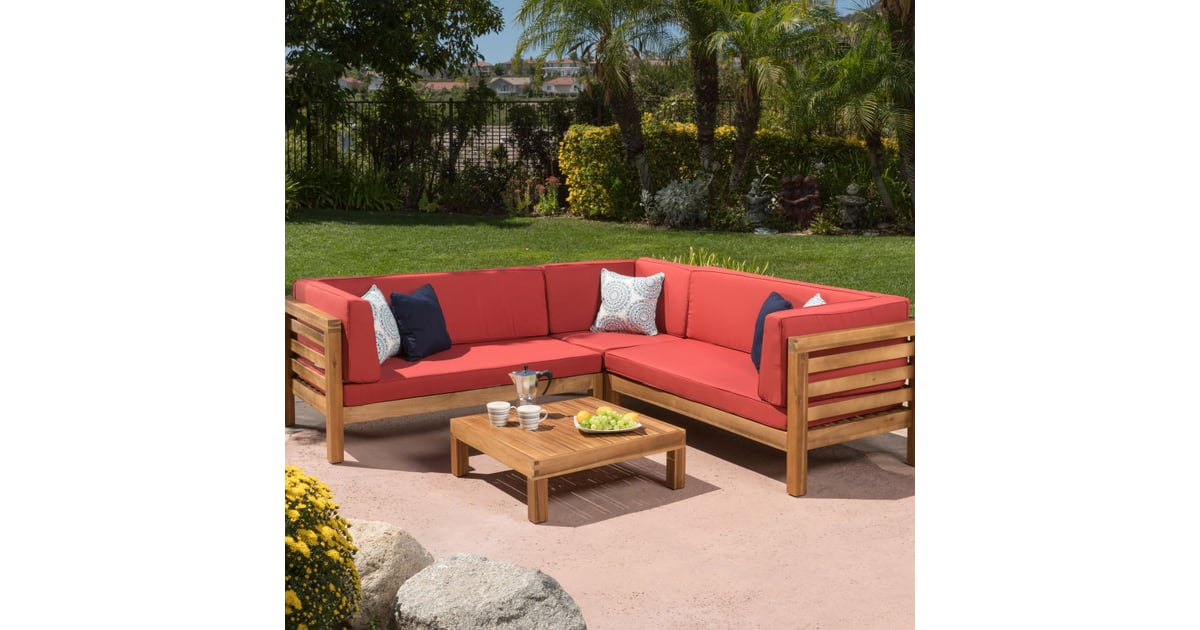 Collins 4-Piece Outdoor Sectional Set With Red Cushions ...