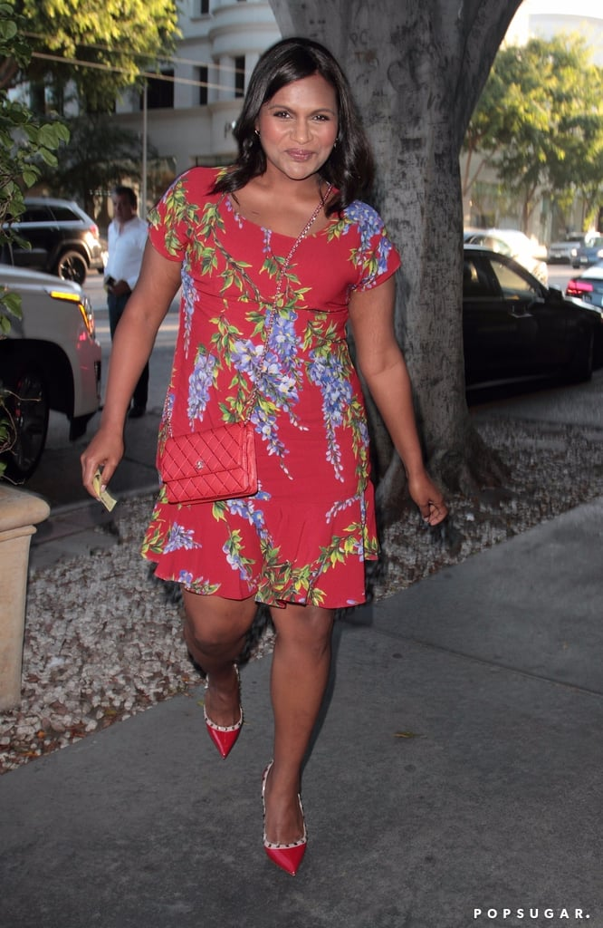 Mindy Kaling's Red Dolce and Gabbana Floral Dress