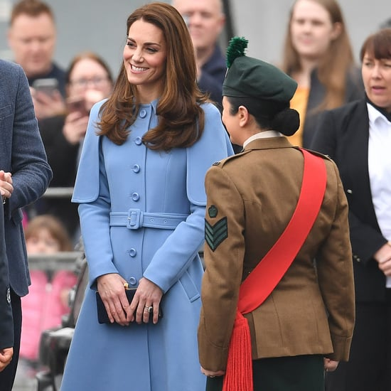 Kate Middleton Blue Mulberry Cape Coat February 2019
