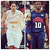 The Lakers weren't sure who to root for — Kobe Bryant, playing to the US, or Paul Gasol, of Spain? Source: Instagram user lakers