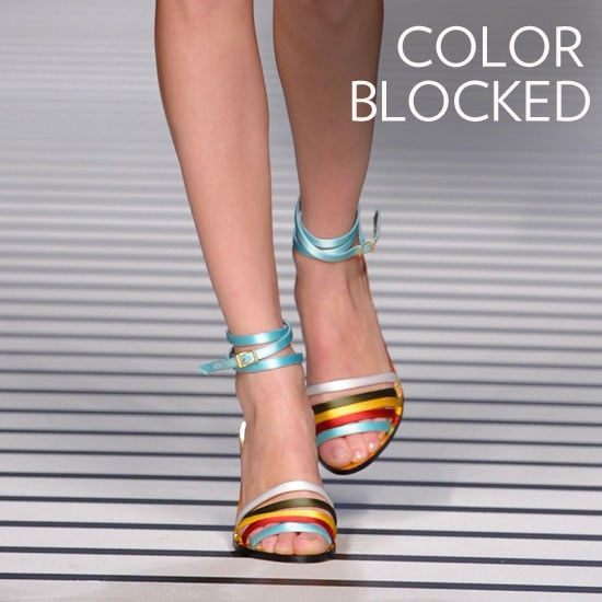 Why we love them: We love that designers took one of our favorite clothing trends to our footwear, too. Colorblocked heels feel fresh and so perfectly suited for the Spring — plus they're a super simple way to lend a little outfit interest to even your most basic jeans and tees. How to wear them: Don't overthink it — footwear like this does the work for you. Add colorblocked heels to boyfriend denim (with a rolled cuff to show them off) and finish with an easy white button-down for an everyday style. For dressier occasions, style up a pair with your LWD.  Photo: Fendi Spring 2012