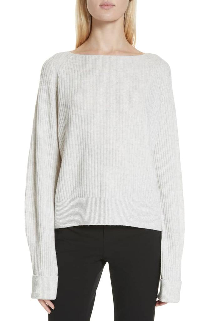 Ribbed Bateau Neck Sweater