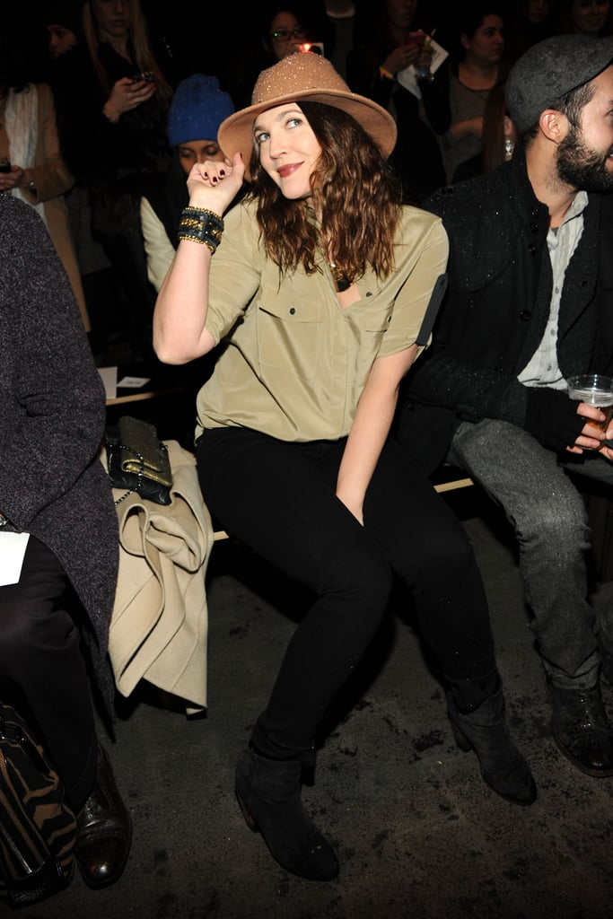 Drew Barrymore braved the blizzard to sit front row at Rag & Bone's Fall show in February 2013.