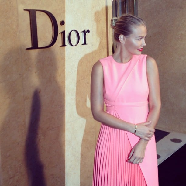 Lara Bingle was looking pretty in pink at the opening of the new Christian Dior store in Sydney during the week. Source: Instagram user mikeyayoubi