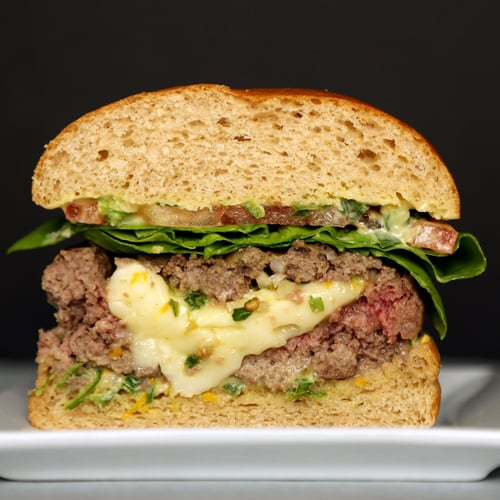 Brie-Stuffed Burgers With Spicy Scallion Mayo