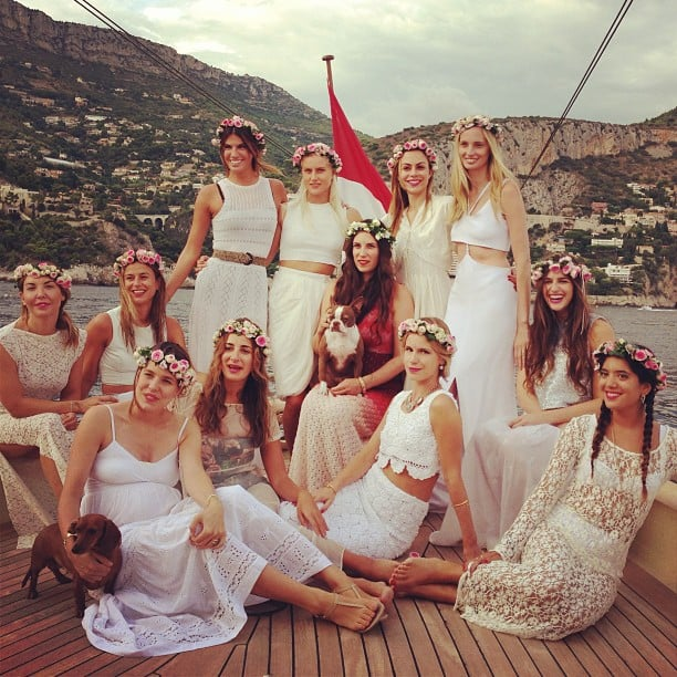 """Tatiana Santo Domingo is getting married to Monaco royal Andrea Casiraghi this weekend, but before she says """"I do"""" she gathered her closest girlfriends, including Andrea's pregnant sister Charlotte Casiraghi, her stylish aunt Lauren Santo Domingo, and Italian socialite Bianca Brandolini, for a picture-perfect bachelorette party aboard a luxury yacht. Tatiana wore a red and cream Missoni design — her best friend Margherita Missoni had to miss out on the celebrations because she's heavily pregnant, and lamented on Instagram that she's suffering from FOMO (fear of missing out) — while her beautiful friends were dressed in varying white, cream and lace ensembles. They all topped off their looks with matching floral crowns. If this is just the bachelorette party, we can't wait to see the wedding! Click through for more dreamy shots of Tatiana's last days before getting hitched."""