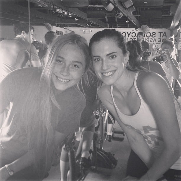 Allison Williams kicked off the holiday with a spin class. Source: instagram user rivfifi
