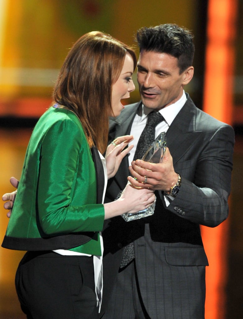 Emma Stone was in shock when she won the award for favorite movie actress at the People's Choice Awards in January 2012.