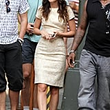 Leighton Meester made her way to the set.
