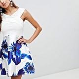 AX Paris Bardot Skater Dress With Printed Skirt