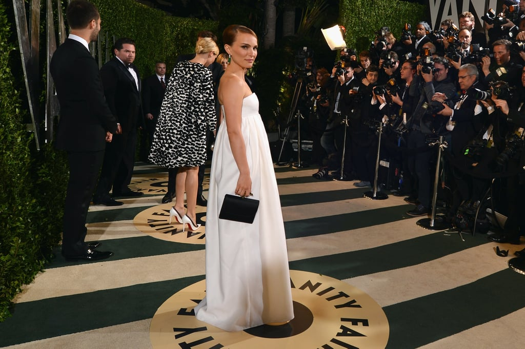 Natalie Portman posed for cameras at the Vanity Fair Oscars party.