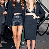 Izabel Goulart and Lily Aldridge made a smoldering duo outside W's downtown New York party.