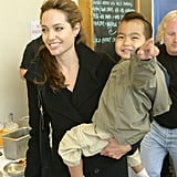 Angelina and Maddox visited the Eden Project in Cornwall, UK, in July 2005.