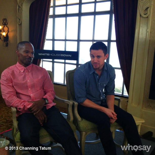 White House Down costars Jamie Foxx and Channing Tatum did press together. Source: Channing Tatum on WhoSay