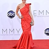 Cat Deeley wore a stunning fishtail hem one-shouldered Tadashi Shoji dress to the Emmys in LA.