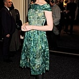 Erin O'Connor wore a pretty green dress.