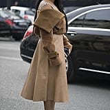 Pair a Camel Skirt With a Camel Jacket, but Wear Bright Blue Pumps